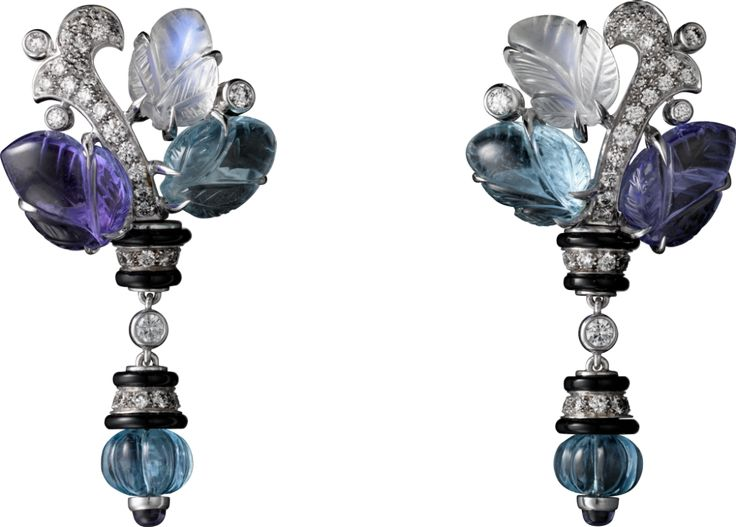 Aquamarines, tanzanites, moonstones, onyx and 82 brilliant-cut diamonds tw 0.69 carats. (P.R.P. $75,000) Cartier