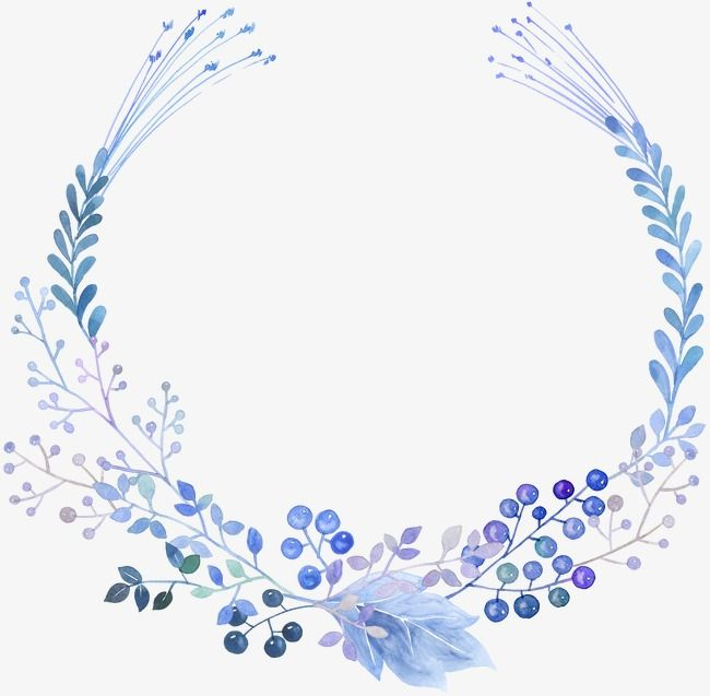 Hand Painted Plant Garland Blue Drawing Plant Leaves Png Image Watercolor Flower Wreath Wreath Drawing Wreath Watercolor