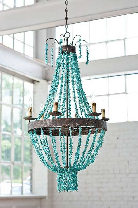 Turquoise Chandelier, it really stands out in this nice and bright white room.