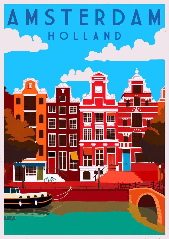 Amsterdam Dutch Holland Netherlands Europe Travel Art Poster Advertisement
