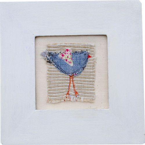 Recycled denim birdie with ditsy floral heart . Take a look at the others in collection.