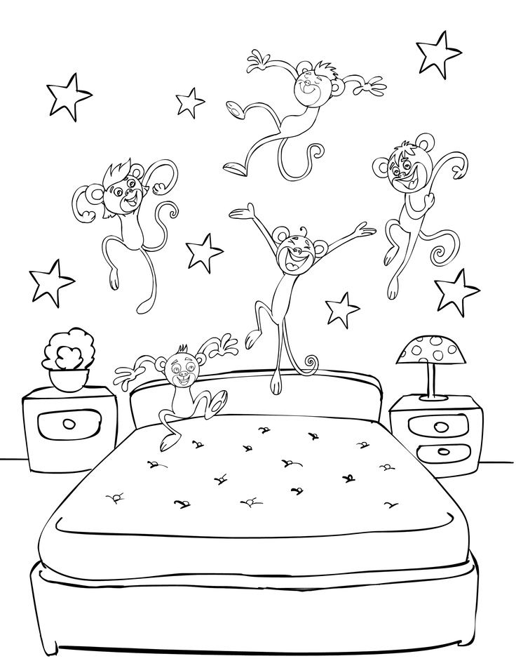 preschool fun five little monkey jumping on the bed - Coloring Pages Monkeys Jumping Bed