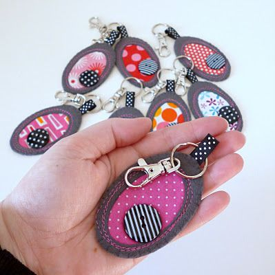 add felt, ribbon, & buttons to create your own unique keychain