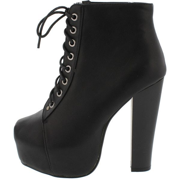 JORDON09 BLACK LACE UP PLATFORM HEEL ANKLE BOOT (460 UYU) ❤ liked on Polyvore featuring shoes, boots, ankle booties, ankle boots, lace up flats, black flats, black booties and black wedge boots