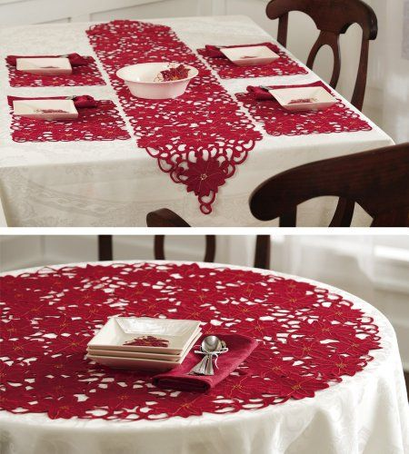 Collections Etc - Embroidered Poinsettia Holiday Table Linens Runner Red