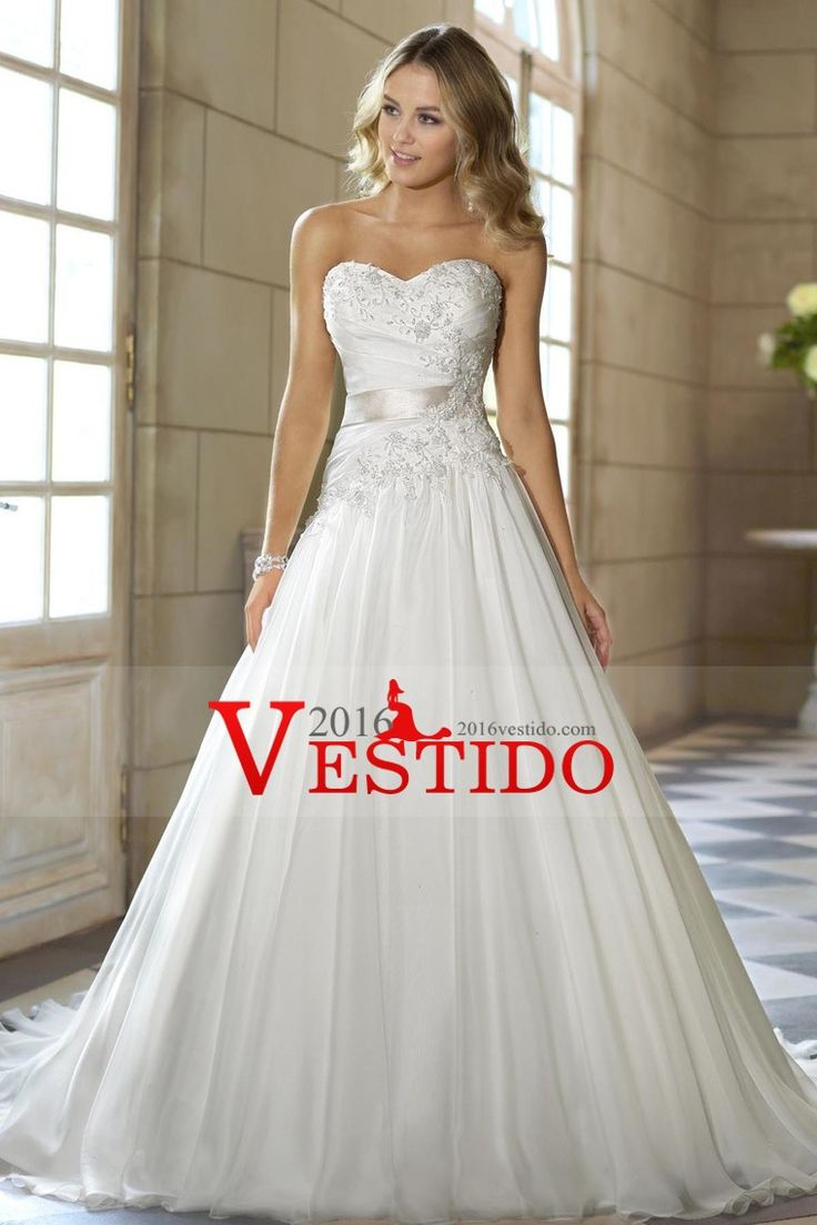 2016 A Line Wedding Dresses Sweetheart With Applique And Ruffles Organza