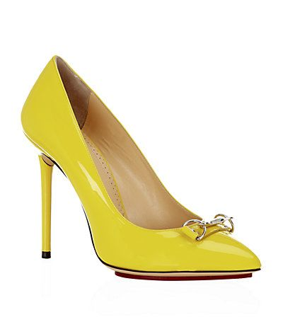 Yellow shoes joy! Charlotte Olympia Hooked On Monroe Court | Harrods