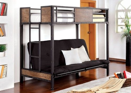 Furniture of America Clapton Twin Size Bunk Bed with Futon CM-BK029TS (futon mattress is sold separately)