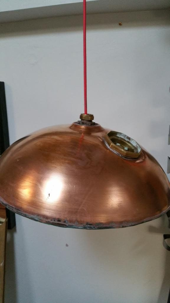 Upcycled Top Of Copper Water Cylinder Light POA · Retro LightingWater TankRestaurant  ...