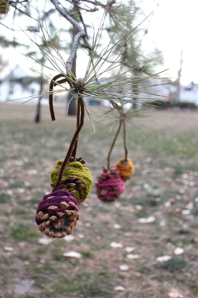 decorate a tree at the park with Yarn wrapped ornaments - (kids) guerilla art by smile and wave