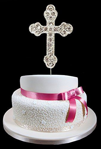 Silver Rhinestone Cross Cake Topper Communion Christening Wedding Confirmation Religious Occasion onlinepartycenter
