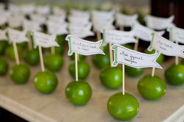 Lime Escort Cards-would be cute for a fiesta party