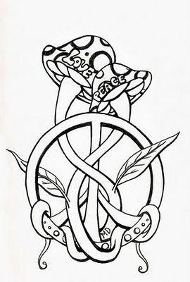 Mushroom and Peace Symbol Tattoos Design