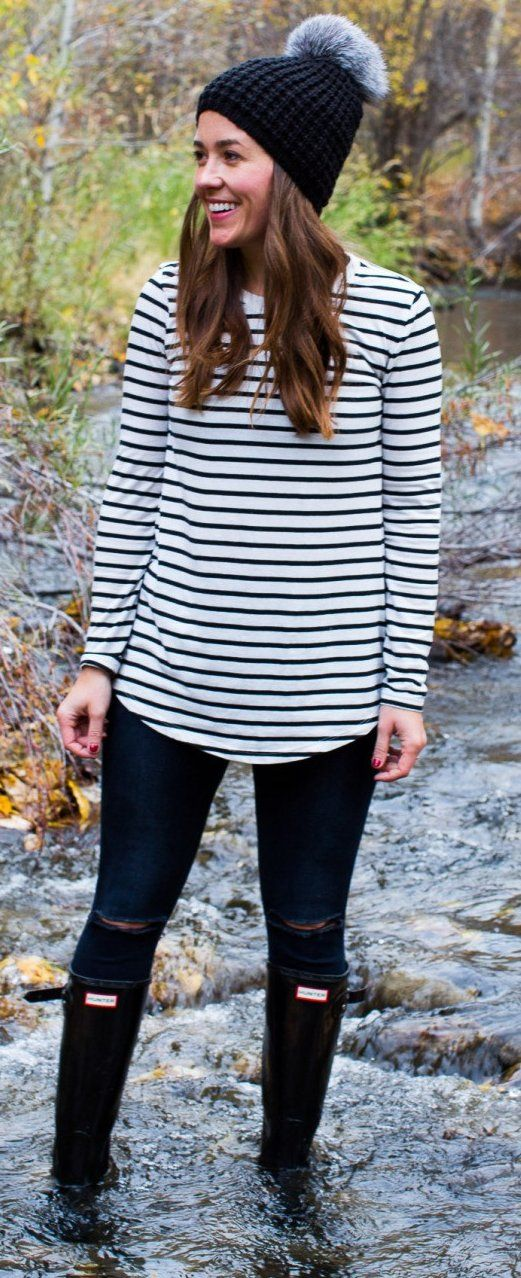 #thanksgiving #fashion · Black Beanie // Striped Sweater // Destroyed Skinny Jeans // Black Boots