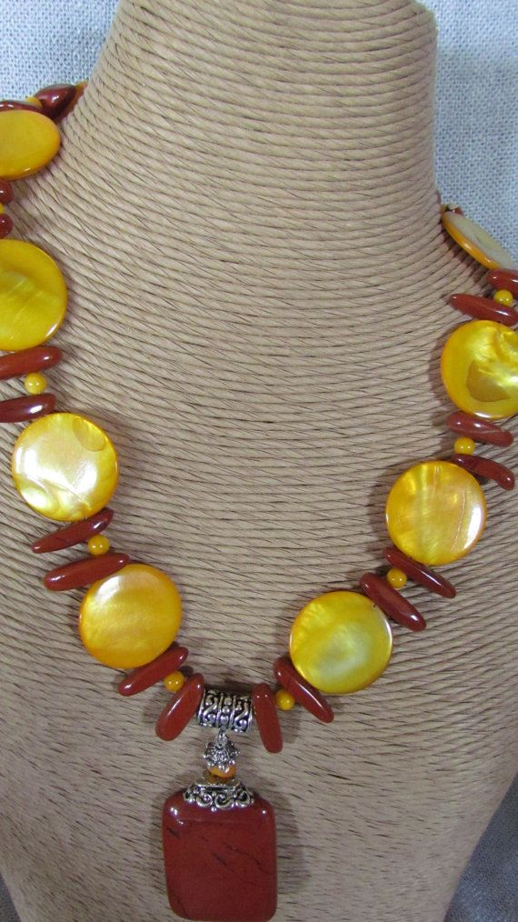 Statement necklace with red jasper yellow mother of by yasmi65, $32.00