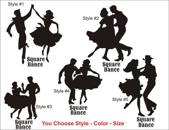 Square Dance Decal Sticker Modern Traditional Square Dancing Cowgirl Cowboy Decal Country Girl Boy Western  Vinyl Sticker Window Decal Wall