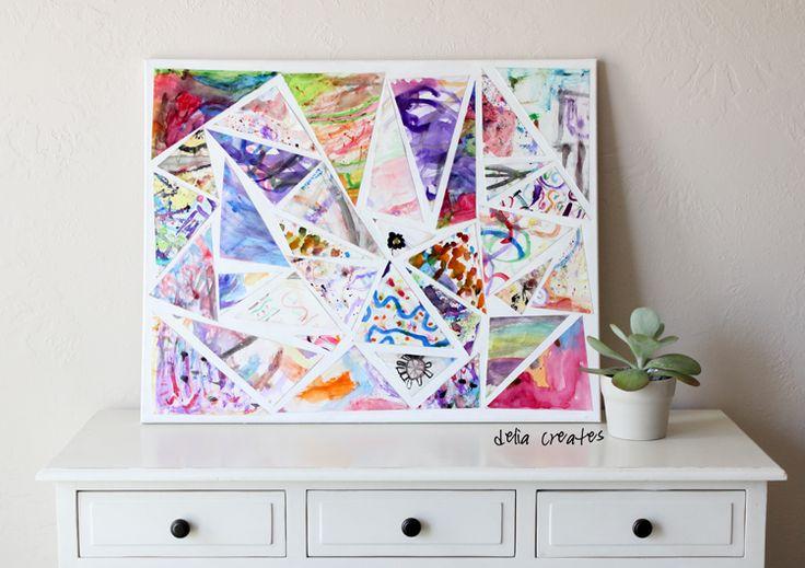 Showcase your child's art and turn it into captivating wall art | via delia creates