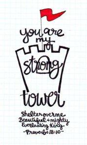 Tú eres mi torre fuerte, refugio sobre mí, hermoso, maravilloso, Dios eterno. Proverbios 18:10