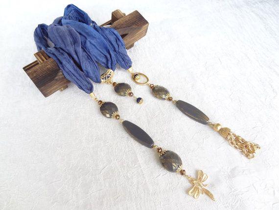 Blu gioielli sciarpa, sciarpa collana, Collana oro, collana seta turco, regali di Natale