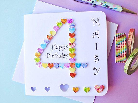4th Birthday Card Custom Personalised Age 4 Card Colourful Card Making Birthday Big Birthday Cards Birthday Cards For Son