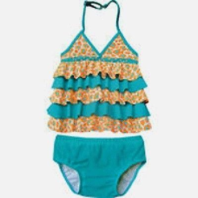 NEW Isobella & Chloe Sun Sand Surf Blue Animal Print Tankini Swimsuit 4 5 6 6X