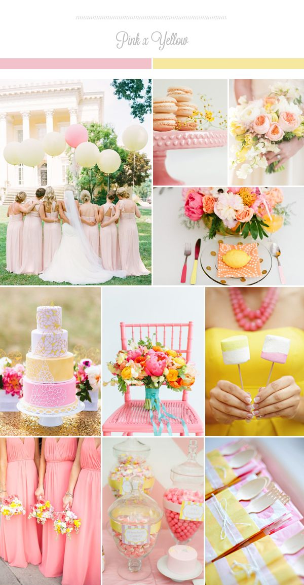 Pink x yellow! This lovely color palette is perfect for a sweet spring wedding! The fun combination of feminine pink tones with soft yellow brings freshness and joy. Here are some ways to use these adorable spring colors in your wedding. Credits (from top left): Jodi Miller Photography / Sara of Burnetts Boards / Abby …
