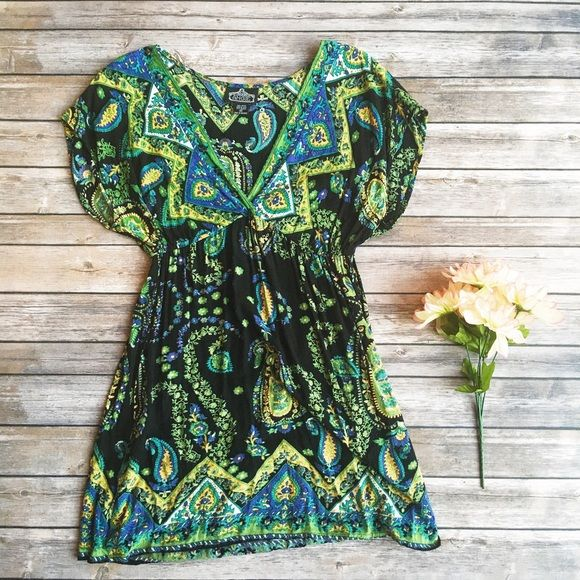 Angie Black & Green Festival Dress  ★ Like new condition.  ★ This Angie dress features a cool boho pattern and is perfect for spring, summer, and festival season! Super trendy and stylish!  ★ 100% Rayon.  ★ NO TRADES!  ★ YES OFFERS! ✅ ★ Measurements available by request.  Angie Dresses