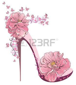 silhouette femme vintage: Les hauts talons de chaussures vintage avec des fleurs Illustration