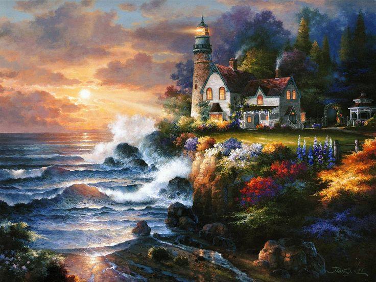 Twilight Beacon House Sunset Lighthouse Wave Images