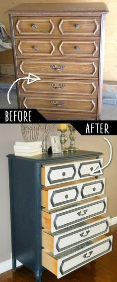 DIY Furniture Makeovers - Refurbished Furniture and Cool Painted Furniture Ideas for Thrift Store Furniture Makeover Projects | Coffee Tables, Dressers and Bedroom Decor, Kitchen | Unmatching Dresser Re-do | http://diyjoy.com/diy-furniture-makeovers