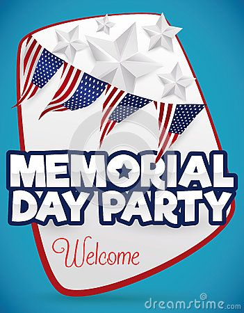 Poster to give a warm welcome to the party for Memorial Day, decorated with American buntings and silver stars.