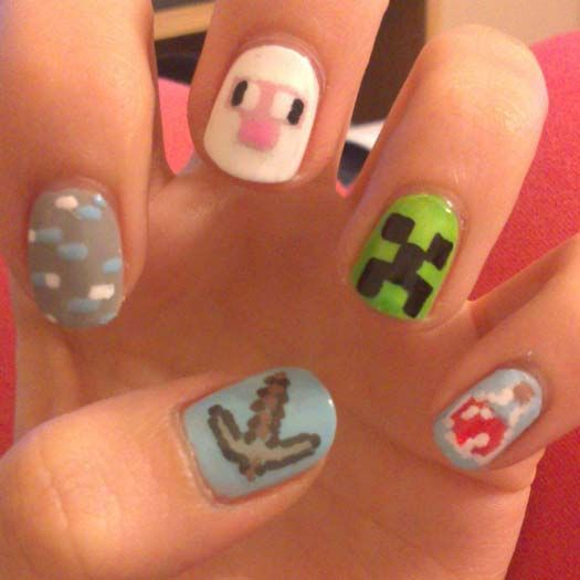 video game nail art mincraft