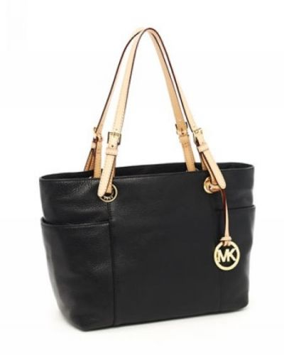 MICHAEL Michael Kors Jet Set Zip-top Tote Black Smooth Leather with Buff Leather Handles