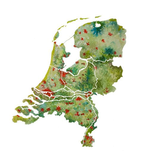 Kleurrijk Nederland - Landkaart in Aquarel