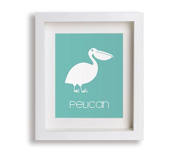 Pelikan Kids Reprodukcja - Nautical Przedszkole Decor, Nowoczesny Przedszkole sztuki, pokój dziecięcy, sypialnia dla dzieci, Małe dziecko, chłopak, dziewczyna, grafika, Bawialnia