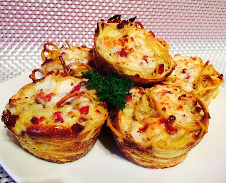 Meine Sattmacher: Sattmacher Carbonara Muffins... Zwiebel weglassen oder austauschen und Kochschinken nutzen!!!