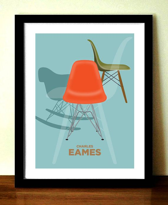Retro Poster CHARLES EAMES chairs mid century door visualphilosophy, $24.99