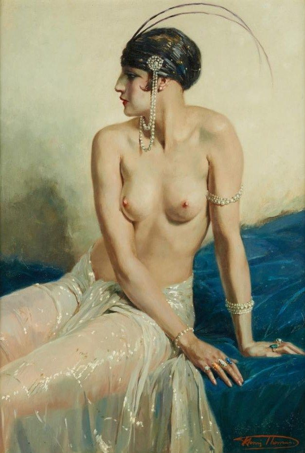 Henri Thomas (1878-1972) - Élégante au buste dénudé