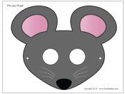 MOUSE MASKS - Four free printable mouse masks, including a b&w one, a light gray, dark gray, and brown mouse mask.