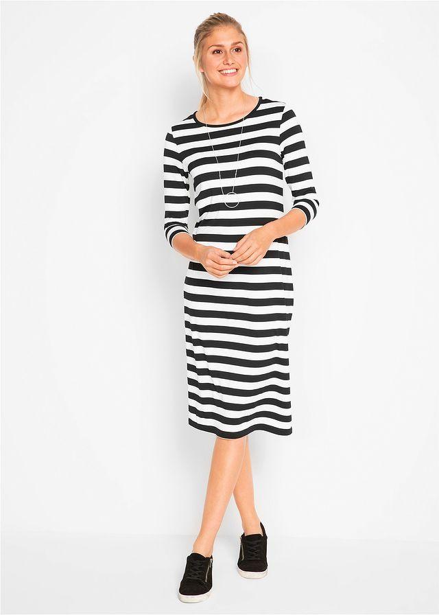 16ed25558 Úpletové šaty, 3/4-ový rukáv • čierna/biela pásikovaná • bonprix obchod
