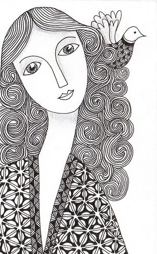 Zen faces 3320 by banar more pattern texture pen and ink for Doodle art faces