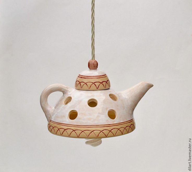 Купить Люстра для кухни Светильник ручной работы керамический Чайник в горох - интерьерные светильники