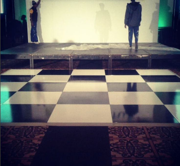 A painted black and white check floor. love this pic of the set up. I think it looks styled! #connectafloorcape #eventflooringcapetown