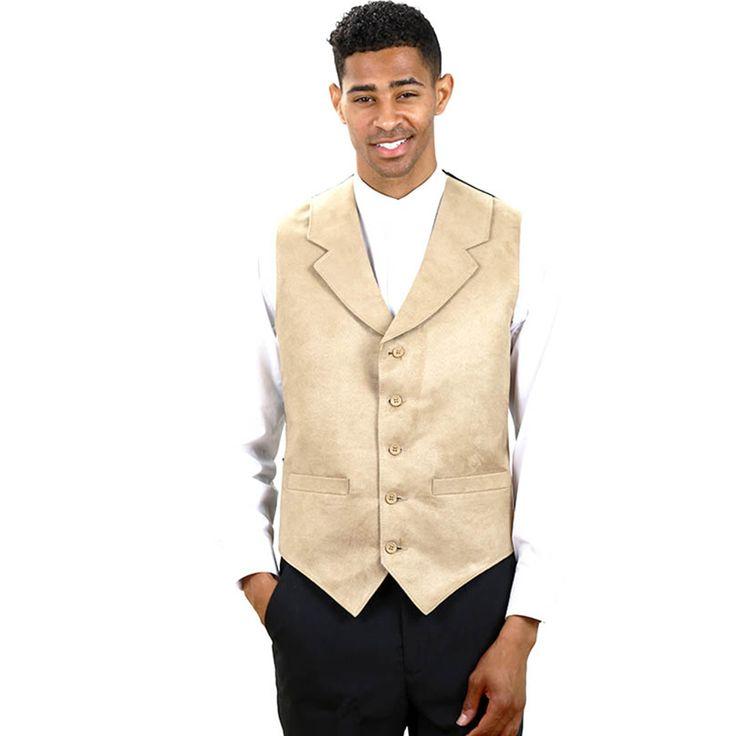 Men's Camel  Suede Notch Lapel Dress Vest