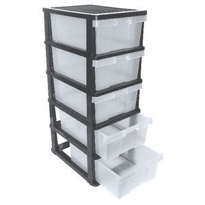 J.Burrows 5 Drawer Cabinet Black/Clear