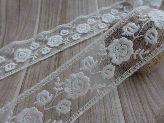 Piuttosto bianco cotone ricamo Tulle Pizzo per Bow nozze, gioielli, forniture nuziale, torte, 2 cantieri