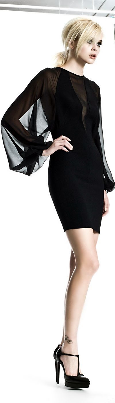 Robert Rodriguez LBD - Feminine Sheer Chic Repinned by www.fashion.net