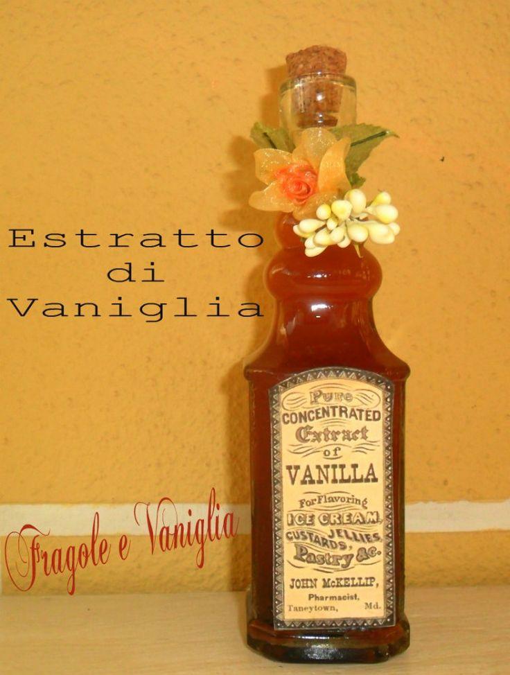 ESTRATTO DI VANIGLIA FATTO IN CASAEstratto di vaniglia fatto in casa INGREDIENTI:  33 cl di Vodka da 3 a 5 baccelli di Vaniglia Bourbon PREPARAZIONE: