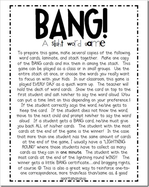 My favorite sight word game to play with the kids is BANG!!!  My kids DIE for this game and BEG me to play it.  Whatever helps 'em learn, I'm all about it.  I'm sure you guys play this in  your own room, but just incase you don't, check it out for yourself!: Help Ems, Sight Words Games, Favorite Sight, Words Work, Games Bangs, Guys Plays, Kids Die, Sight Word Games, Kids Reading Games