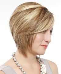 Short Straight Layered Dark Blonde Bob Haircut with Side Swept Bangs and Light Blonde Highlights